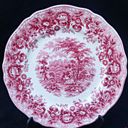 SALE Alfred Meakin Staffordshire Pink Transferware 'Romance' Plate