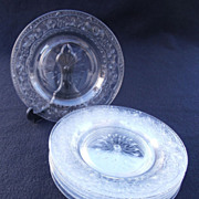 SALE Set of Eight Cut Glass Plates