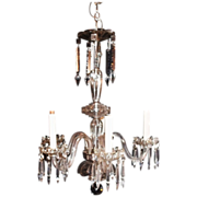 SALE Tall Beautiful Cut Glass Crystal 5 Light Chandelier