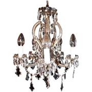 SALE Cut Glass and Crystal 5 Light Chandelier