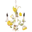 Petite Italian Tole Yellow Rose Chandelier