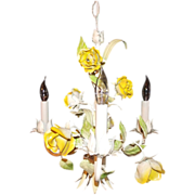SALE Petite Italian Tole Yellow Rose Chandelier