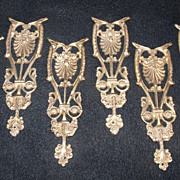 SALE Set of 6 Brass Furniture Embellishments Hardware