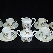 SALE PENDING Porcelaine De Paris Demitasse Set Water Fowl Limoges