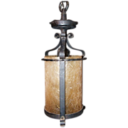 SALE Iron and Amber Glass Cylindrical  Hall Fixture