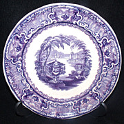 SALE Antique Purple Transferware Plate PW&Co