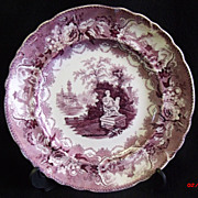 SALE Antique Lavender English Transferware Plate