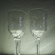 SALE Set of 4 Fine Crystal Etched Goblets