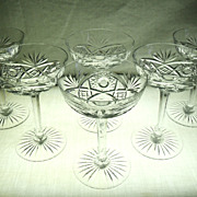 SALE Set of 6 Fine Crystal Champagne Sherbet Stems