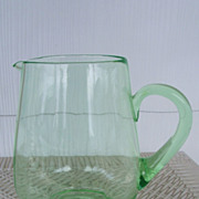 SALE Green Depression Glass Water Pitcher