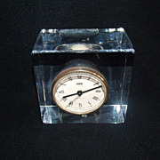 SALE Sevres France Crystal Block Clock