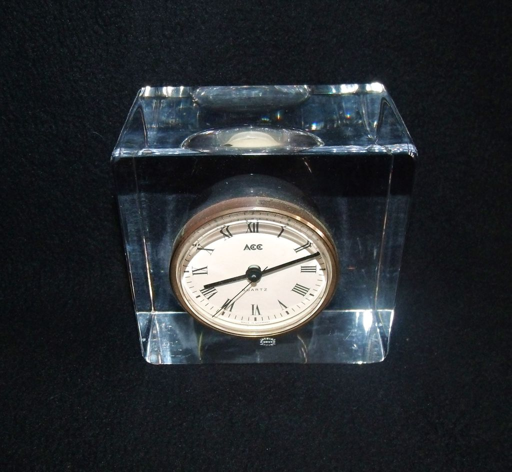 Sevres France Crystal Block Clock