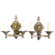 SALE Pair of 1920's Double Light Fleur-De-Lis Sconces
