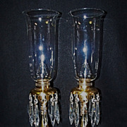 SALE Pair of Brass with Crystal Mantle Hurricane lamps Signed Hubley