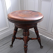 SALE Antique Victorian Ball & Claw Footed Swivel Piano Stool A. Merriam & Co. Acton, MA.