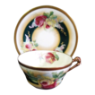 Antique Coronet Limoges Porcelain Cup & Saucer Roses