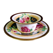 SALE Antique Coronet Limoges Ramekin with Saucer