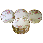 SALE Beautiful Set of Antique Coronet Limoges Porcelain Plates