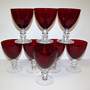 SALE Duncan & Miller Ruby Red Water Goblets Set of 8