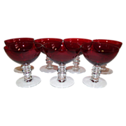 SALE Duncan & Miller Ruby Red Champagne/Tall Sherbet  Set of 7