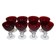 SALE Duncan & Miller  Ruby Red Liquor Cocktail Stems Set of 8