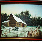 SALE Oil on Stretched Canvas Winter Scene Signed T. Seymour
