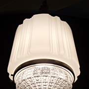 SALE Art Deco  Glass Light Shade with Clear Prism Lens