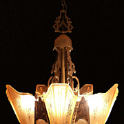SALE Magnificent Markel Cast Bronze Art Deco 5 Light Slip Shade Chandelier