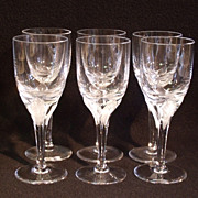 American Cut Crystal 'Erica' Pattern Set of 6 White Wine Stems