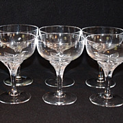 American Cut Crystal 'Erica' Pattern Set of 6 Champagne Tall Sherbet