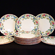 SALE Beautiful Cauldon English Floral Plates set of 12
