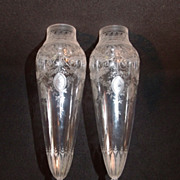 SALE Pair of Early Heavily Etched Crystal Amphora Sconce Vases
