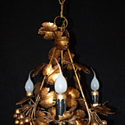 SALE Grape Vine Gilded Metal Petite Tole 3 Light Chandelier