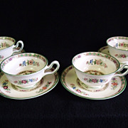 SALE 4 Cup and Saucer Sets Bideford Kutani Crane by Wedgwood
