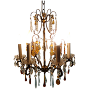 Beautiful Brass Scroll Chandelier with Amber and Clear Crystal
