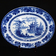 "Antique Royal Doulton  Flow Blue  'Madras' 17"" Oval Platter"