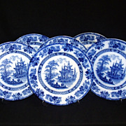 Antique Royal Doulton Flow Blue 'Madras' Set of 6 Plates