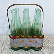 SALE Vintage Royal Crown Cola Bottles with Tin Carrier
