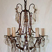 SALE Bronze and Brass 6 Light Amethyst Crystal Chandelier
