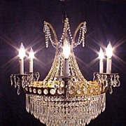 SALE Grand Brass and Crystal Stunning Chandelier