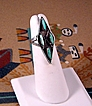 Vintage Zuni Turquoise and Sterling Needlepoint Ring ca 1970's
