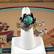 Navajo Sterling and Turquoise Ring ca 1970's