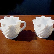 SALE Fenton Star Shaped Hobnail Cream and Sugar Set ca 1950's-60's