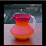 SALE Hand Blown Miniature Satin Glass Pitcher