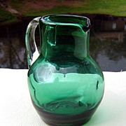 SALE Emerald Green Dimpled Miniature Pitcher ca 1960's