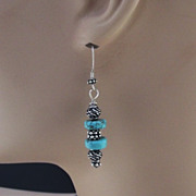 Sterling and Turquoise Earrings with Sterling French Wires