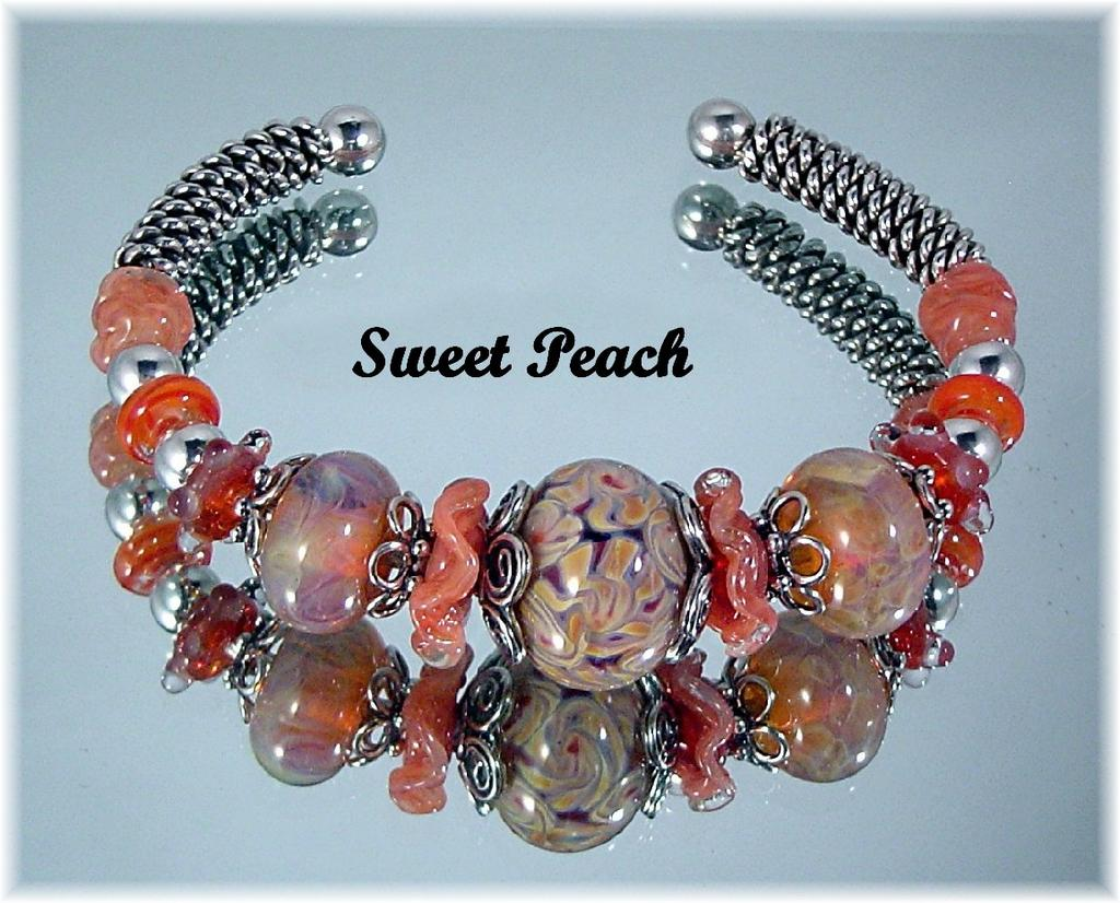 Sweet Peach Boro Bead Bracelet