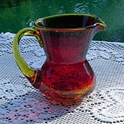 SALE Miniature Amberina Crackle Glass Pitcher ca 1960's
