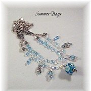 SALE Summer Day Lampwork Bead and Swarovski Crystal Necklace