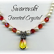 SALE Swarovski Faceted Crystal and Flux Pearl Necklace